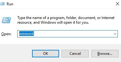 word-open-by-run-command