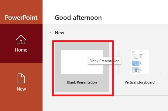 create blank presentation