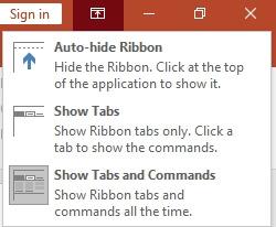 ribbon display options